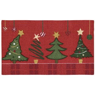 Hanson Christmas Trees Red Green Area Rug