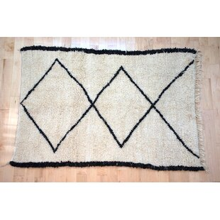 Online Reviews One-Of-A-Kind Moroccan Beni Ouarain Hand-Woven 5'4 x 7'7 Wool Off White Area Rug By Isabelline