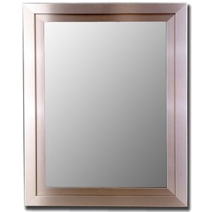 satin brushed nickel silver wide wall mirror