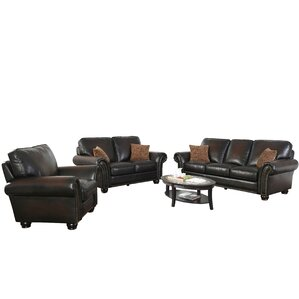 Darby Home Co Fallsburg 3 Piece Leather Living Room Set