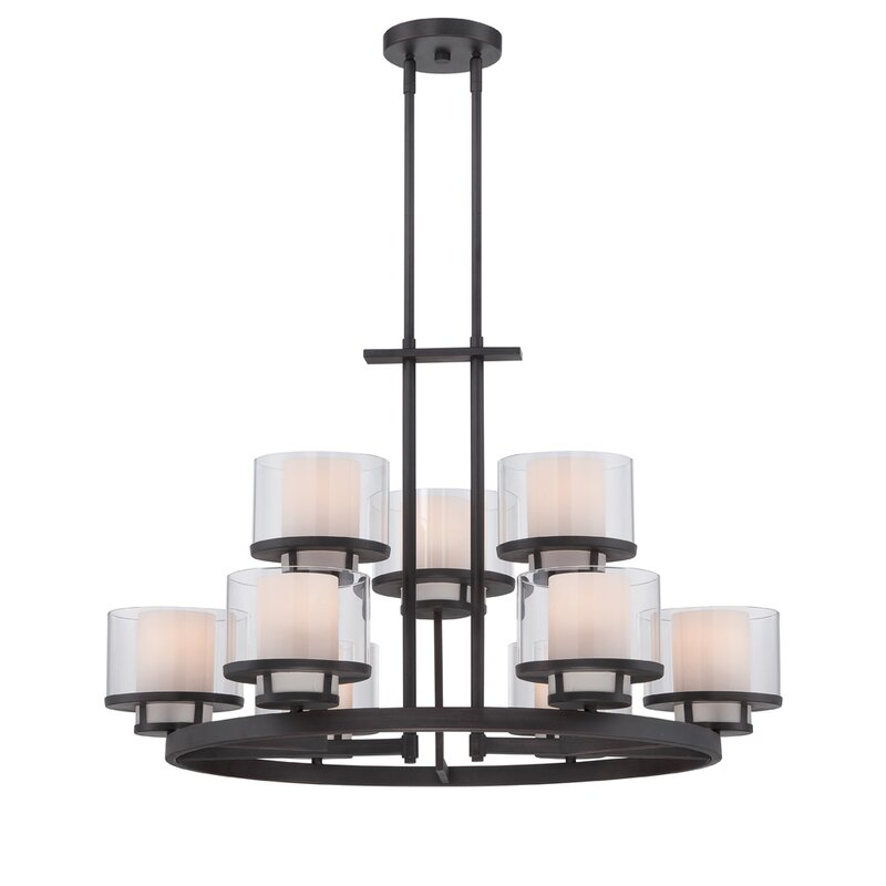 Designers Fountain Fusion 9-Light Wagon Wheel Chandelier