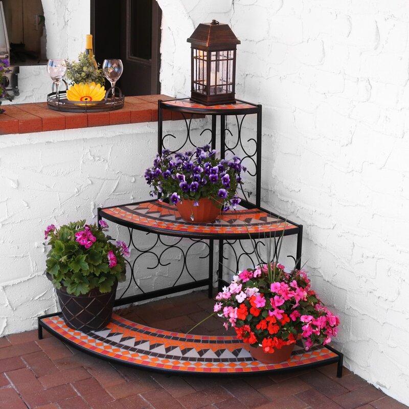 Manningtree 3 Tier Step Style Mosaic Tiled Indoor Outdoor Corner Display Shelf Plant Stand