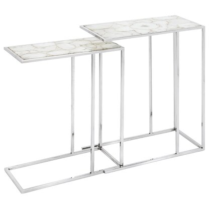 Nakasa Natural Agate Stone 2 Piece Nesting Tables