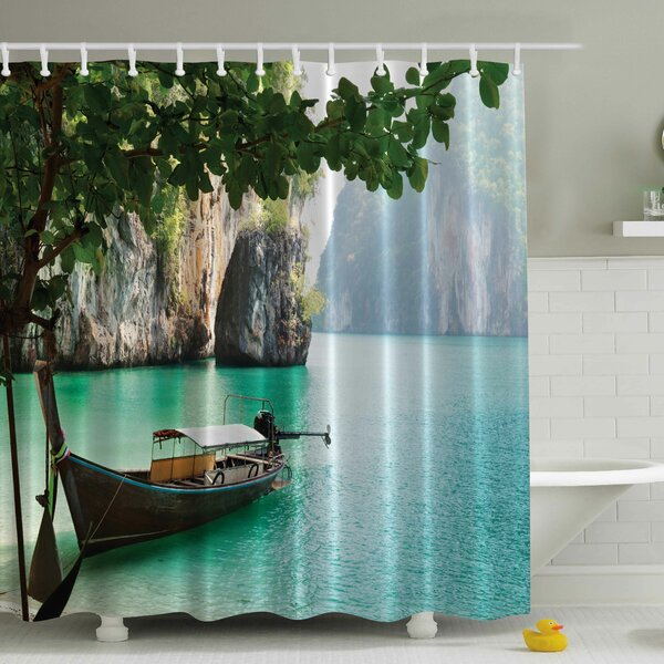 Attractive Ambesonne Wood Sandal Print Shower Curtain U0026 Reviews | Wayfair