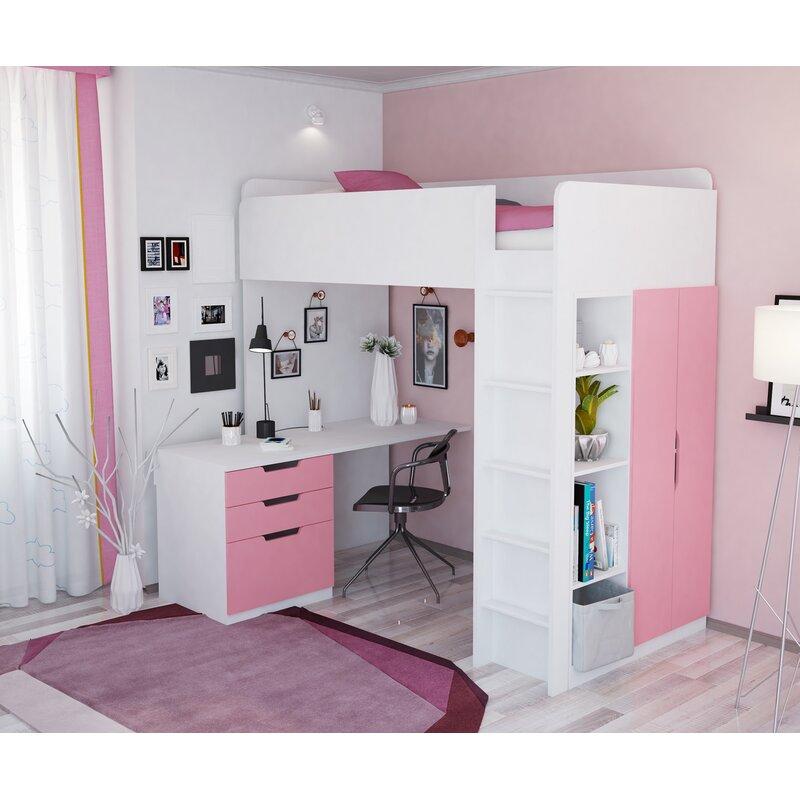 Hochbett mit Regal und Schreibtisch Adriana