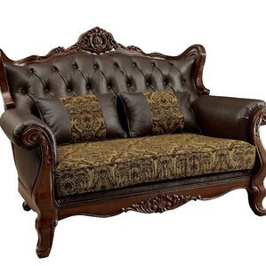 Astoria Grand Hankins Traditional Wood Leg Chesterfield Loveseat