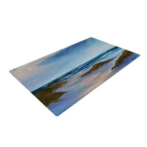 Rosie Brown Wet Sand Beach View Blue Area Rug