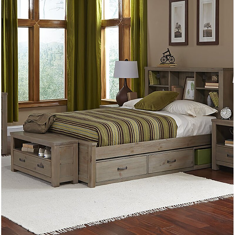 Stella Full Bookcase Bed With Trundle Bed Frame Color: Driftwood