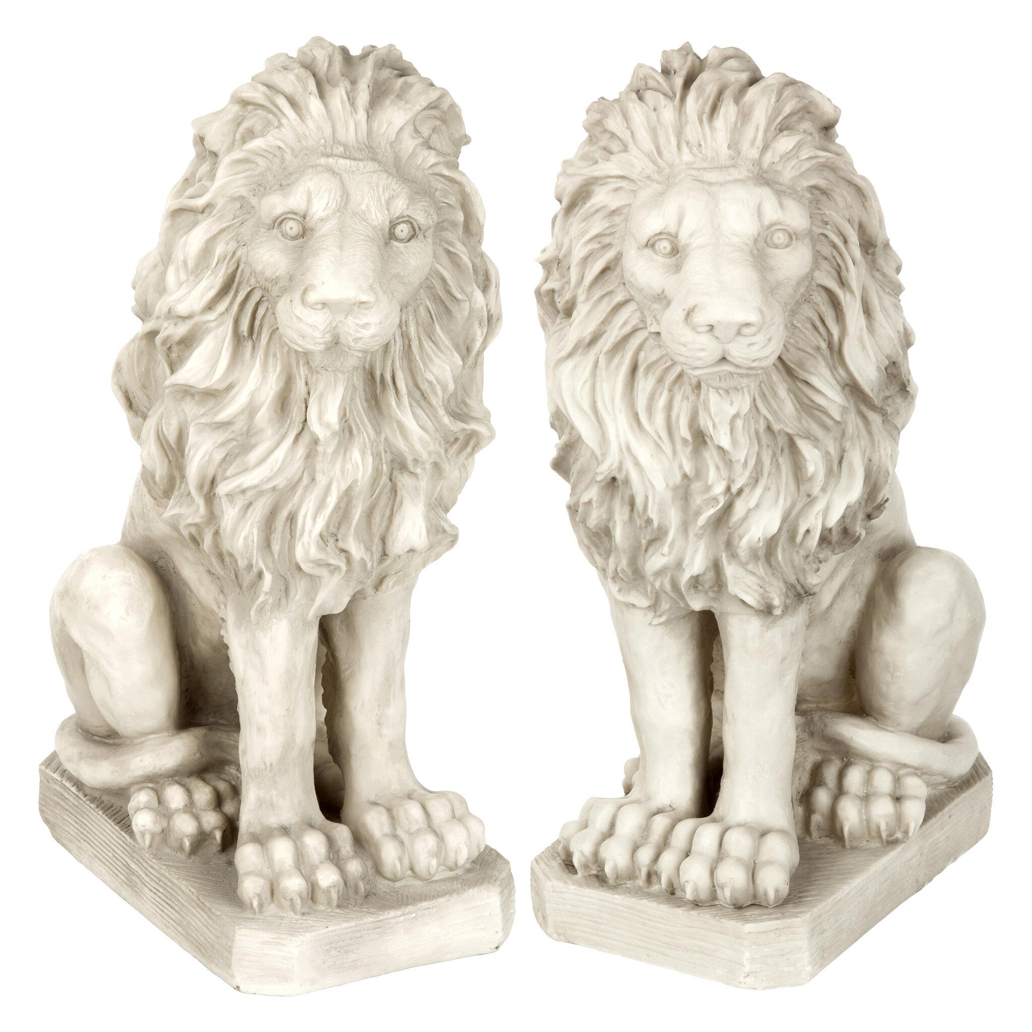 Set of 2 Medieval Heraldic Lion Corbel Replica Wall Sculpture