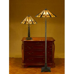 Tiffany Hex Mission 2 Piece Table And Floor Lamp Set