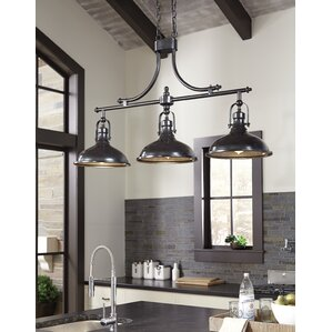 Attractive 3 Light Kitchen Island Pendant