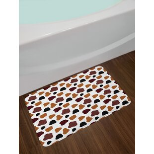 Cow White Brown Black Print Bath Rug