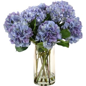 Waterlook Silk Hydrangeas in Glass Vase