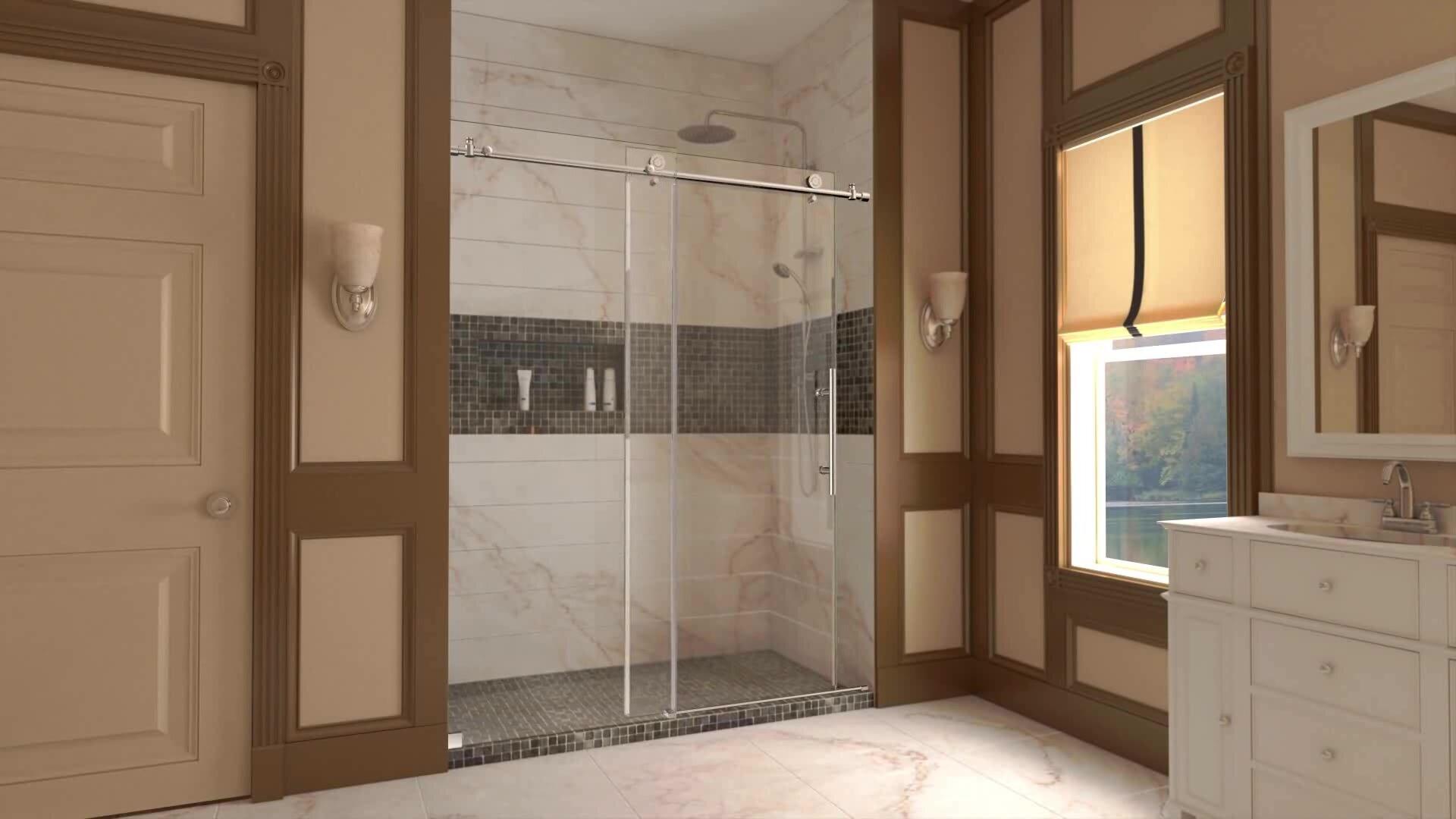 Lesscare clear glass shower door ultra b 44 48 wide x 76 high chrome - Dreamline Enigma X 60 X 76 Single Sliding Fully Frameless Shower Door Reviews Wayfair