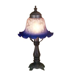 Charmant Victorian Petal Pink And Blue Bell Shade Mini Table Lamp In Mahogany Bronze