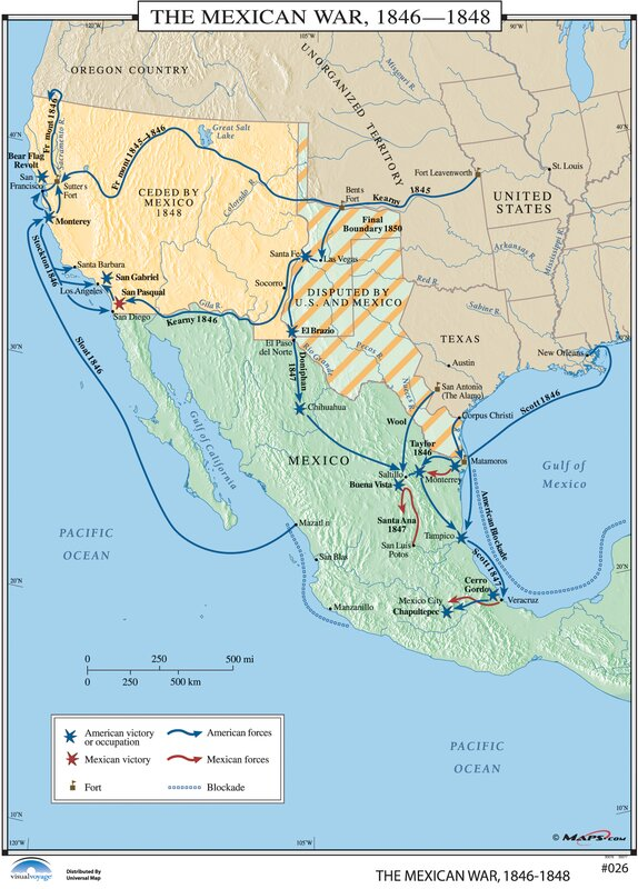 Universal Map US History Wall Maps Mexican War - Map of us in 1848