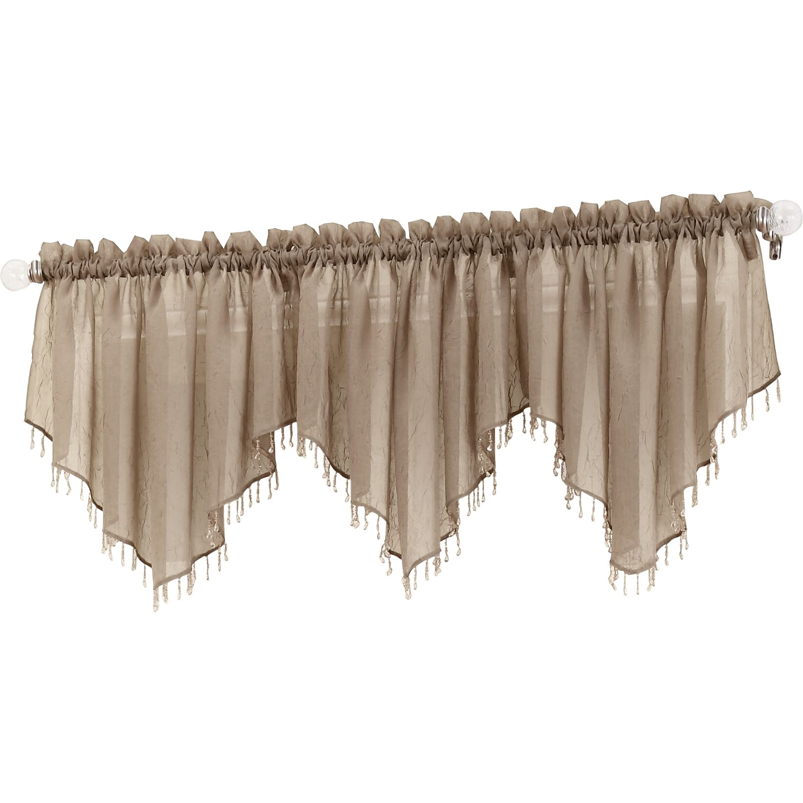 No 918 Erica Crushed Sheer Voile Beaded Curtain Valance Amp Reviews Wayfair