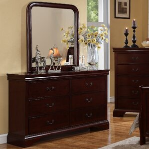 Venice 6 Drawer Dresser with Mirror by A&J Homes Studio