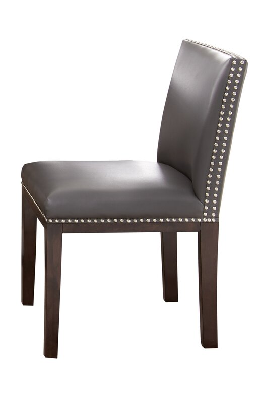 Default nameVarick Gallery Tiffany Genuine Leather Upholstered Dining Chair  . Grey Upholstered Dining Chairs. Home Design Ideas