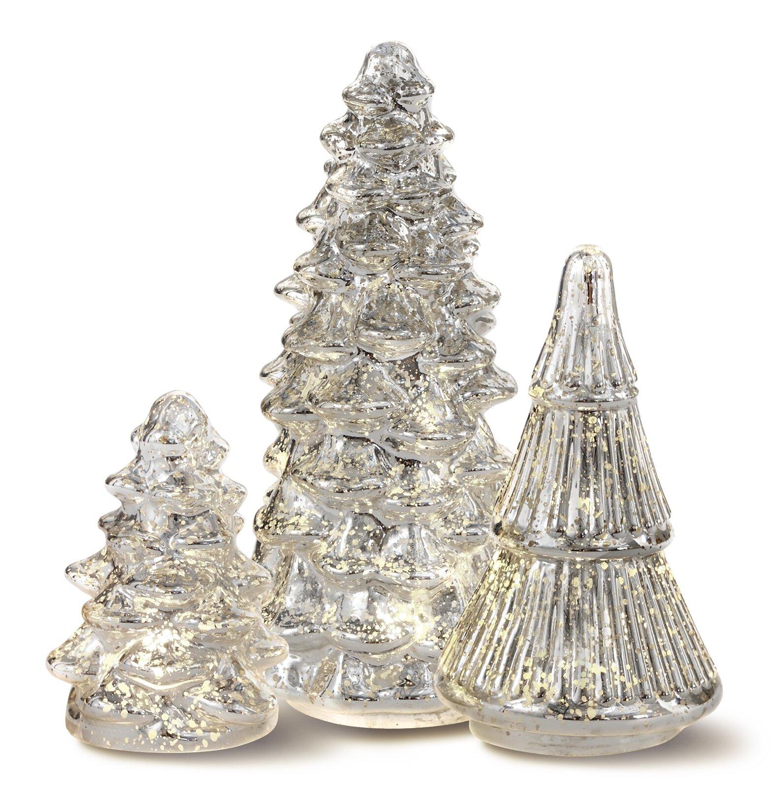 House Of Hampton 3 Piece LED Glass Christmas Tree Set Reviews