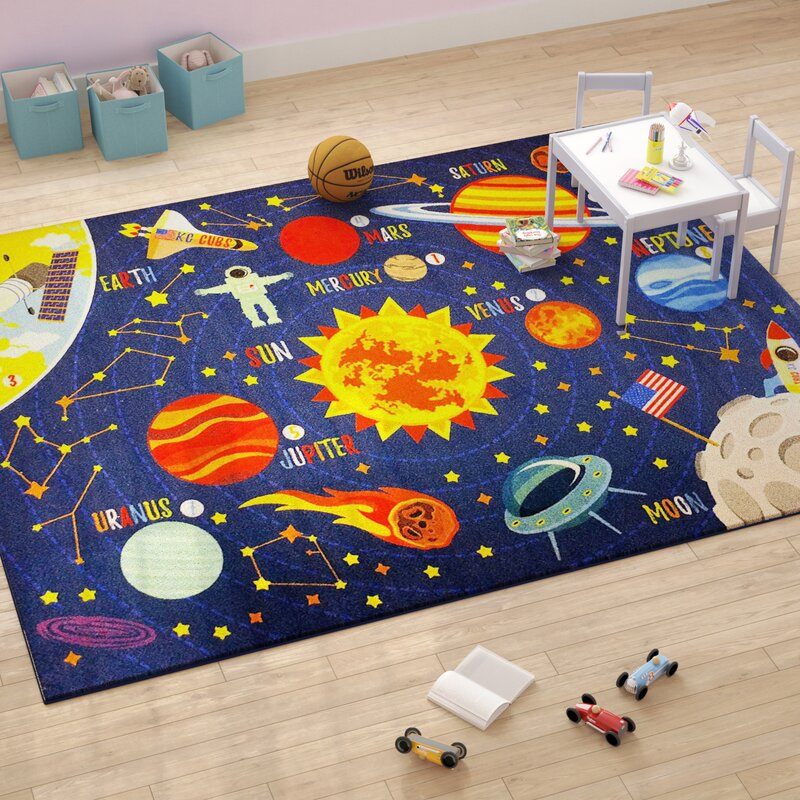 Learning Rug: Zoomie Kids Weranna Outer Space Safari Road Map
