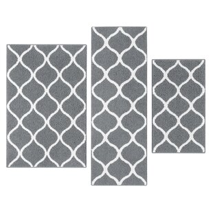 Hershman 3 Piece Gray Indoor Area Rug Set