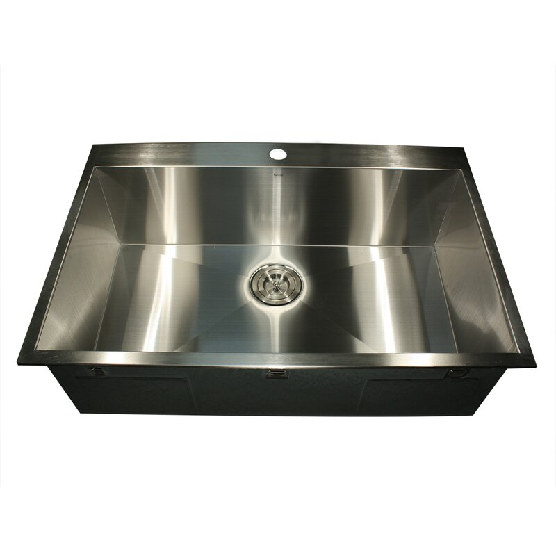 "Top Mount Stainless Steel Kitchen Sinks nantucket sinks pro series 33"" l x 22"" w rectangle single hole"