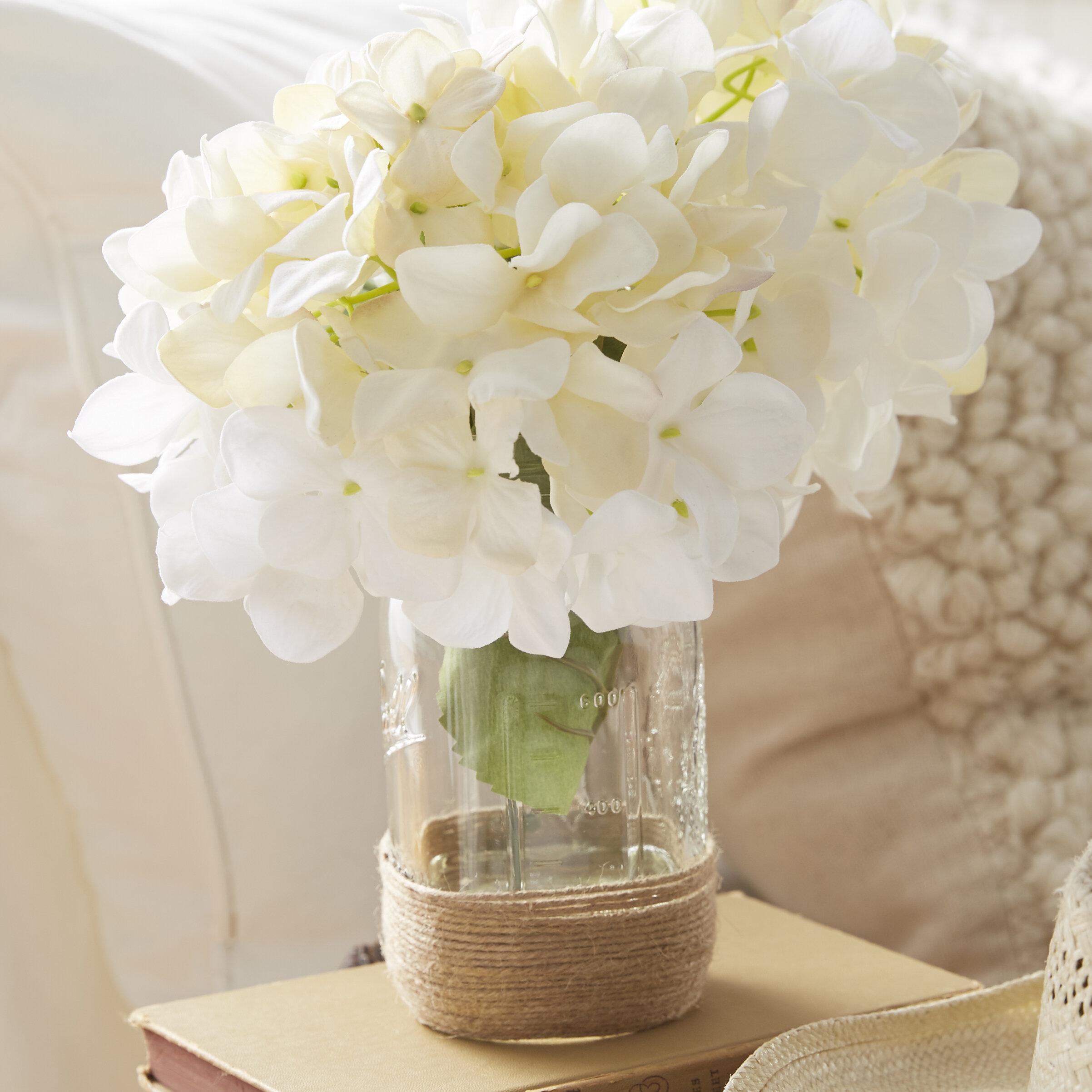 Beachcrest Home Sugarmill Silk Hydrangea Bouquet In Rope Embellished