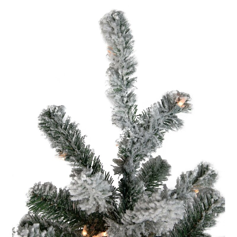 The Holiday Aisle Pre-Lit Flocked 4\' Natural Emerald Pine Artificial ...
