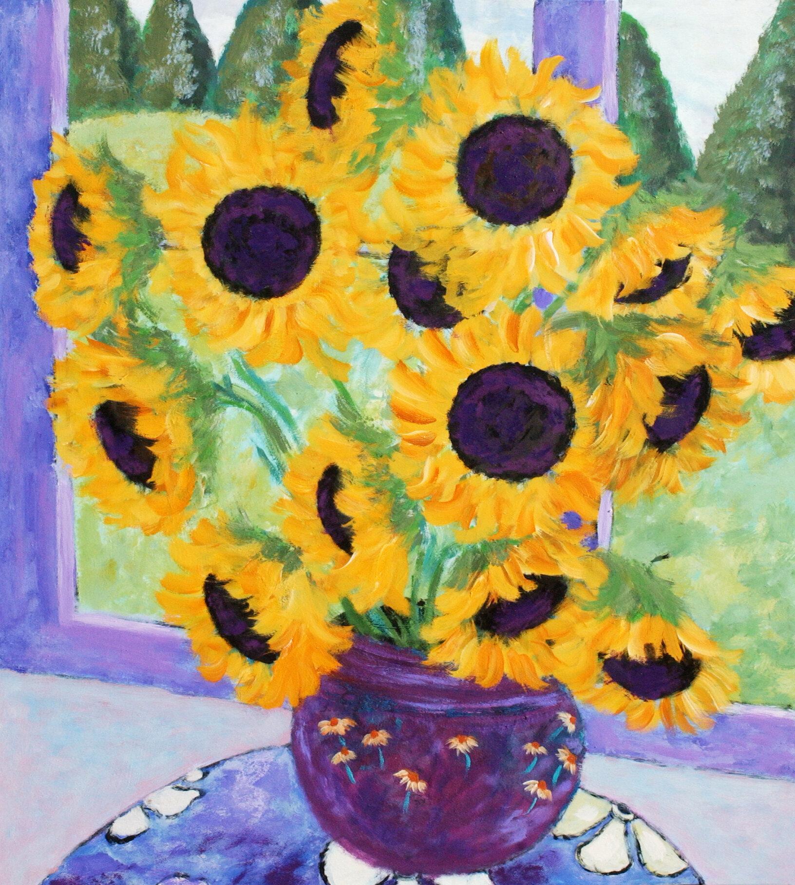 Buy Art For Less \'Sunflowers in the Window\' by Brendan Loughlin ...