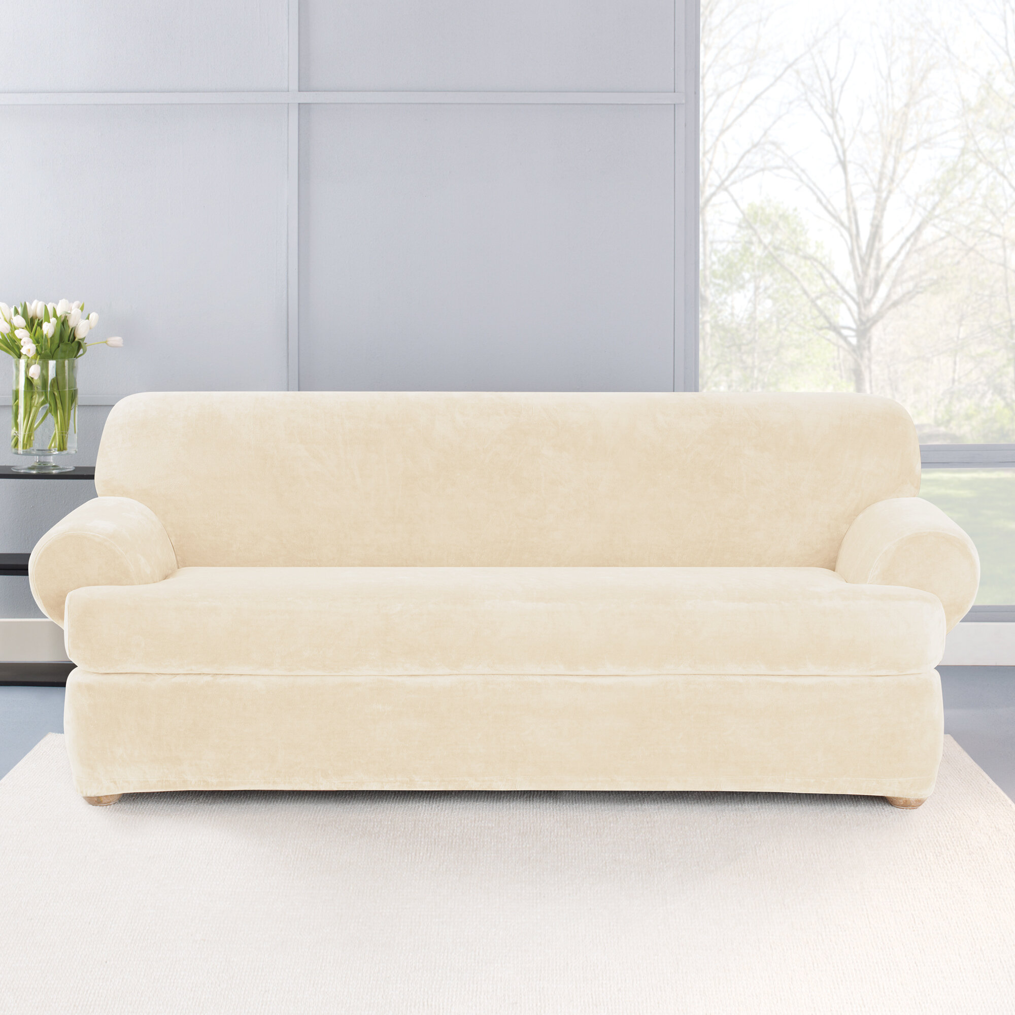 Sure Fit Stretch Plush 2 Piece T-Cushion Sofa Slipcover Set | Wayfair