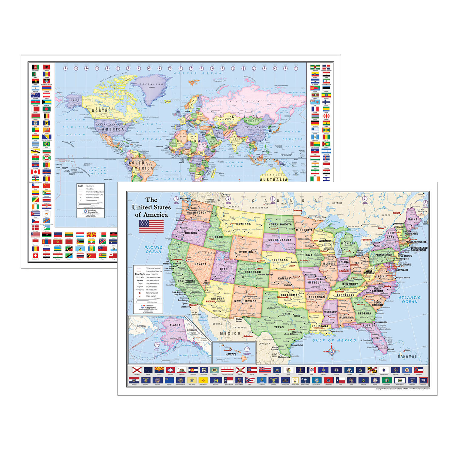 2-Piece Laminated World and U.S. Maps with Flags on print usa map, framed usa map, colored usa map, digital usa map, decorative usa map, foam usa map, standard usa map, black usa map, textured usa map, numbered usa map, usa geography map, cork usa map, curved usa map, complete usa map, wooden usa map, usa accent map, plain usa map, quartz usa map, clear usa map, white usa map,