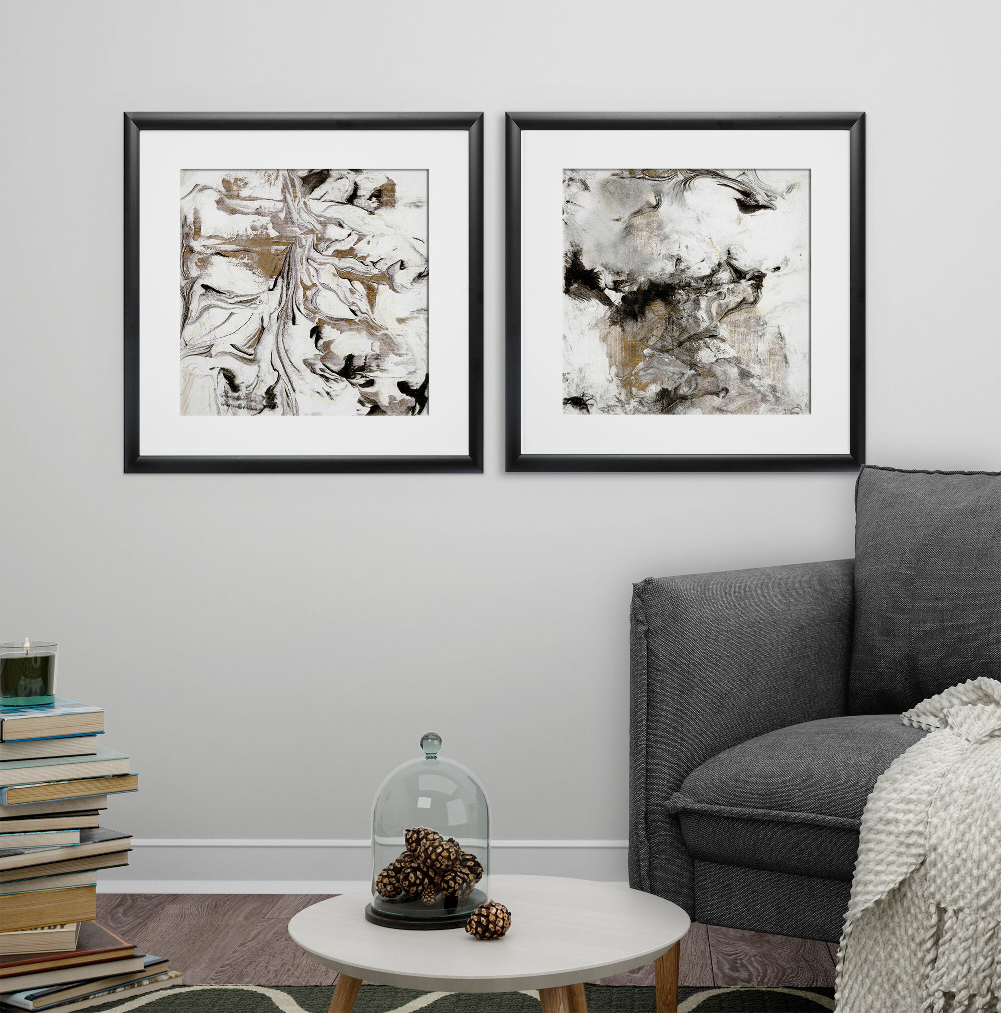 Marble Onyx\' 2 Piece Framed Print Set | Joss & Main