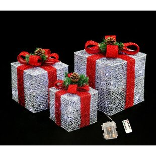 3 piece christmas gift box lighted display decorative accent set