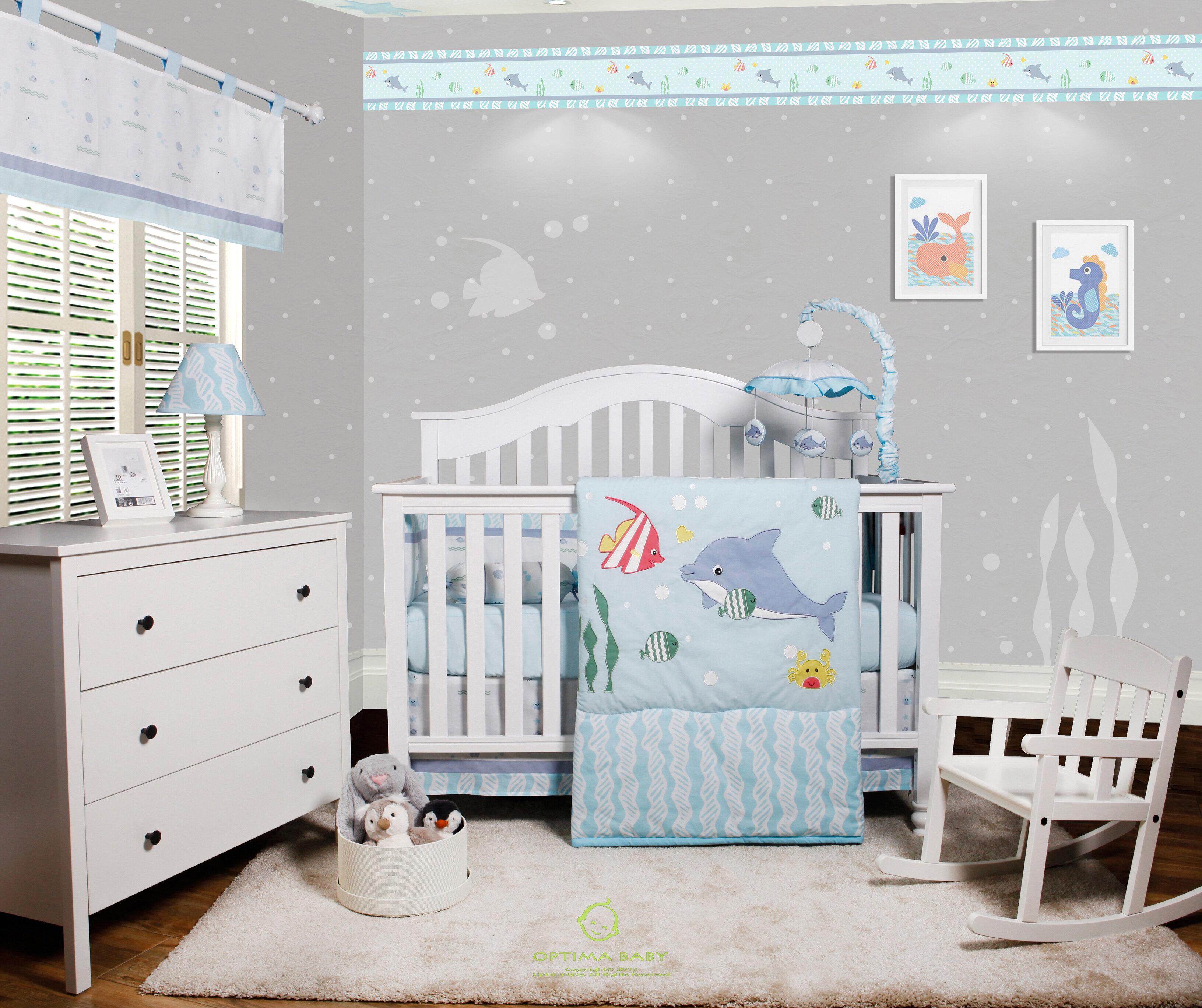 64d54cff56824 Harriet Bee Harrelson Ocean Sea Dolphin Baby Nursery 6 Piece Crib Bedding  Set   Reviews