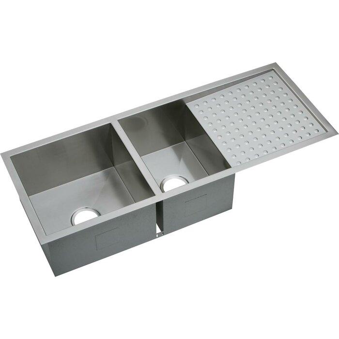 Crosstown 47 X 19 Double Basin Undermount Kitchen Sink With Drainboard