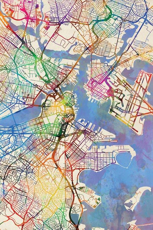 East Urban Home Urban Rainbow Street Map Series: Boston ...