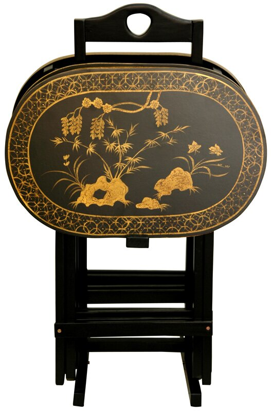 Oriental Furniture Lacquer Tv Tray Set With Stand Reviews Wayfair