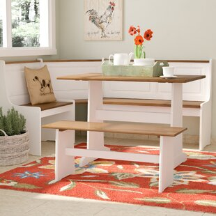Birtie 3 Piece Solid Wood Breakfast Nook Dining Set