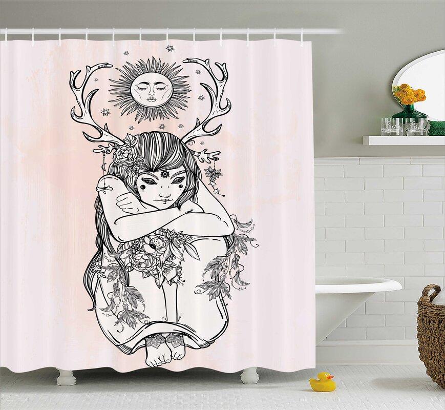 Pink Occult Girl Under Sun Shower Curtain