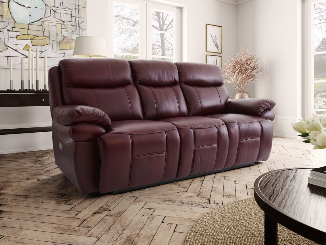 Hyde Line Furniture Boston Leather 3 Seater Reclining Sofa  ~ Three Seater Recliner Sofa