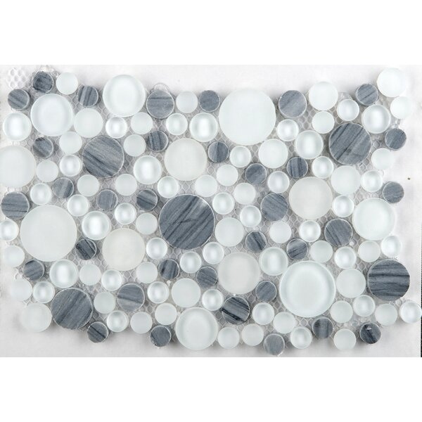 "Emser Tile Lucente 12"" X 12"" Glass Stone Blend Circle"