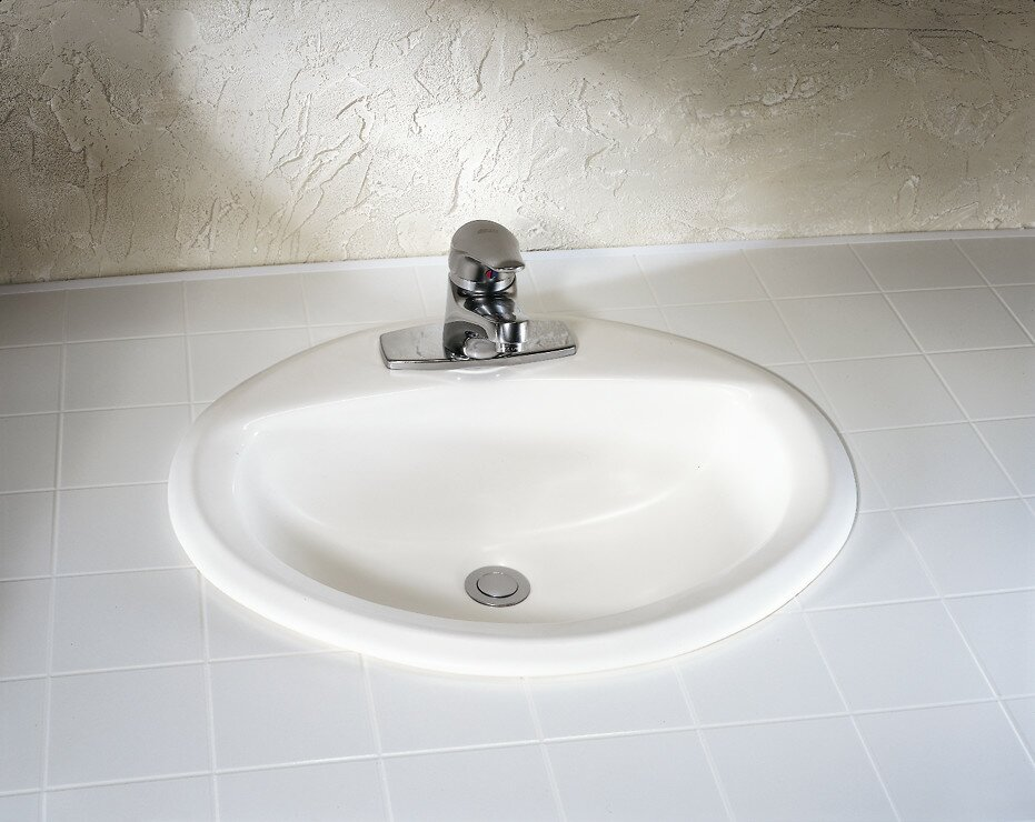 American Standard Aqualyn Ceramic Oval Drop-In Bathroom Sink with ...