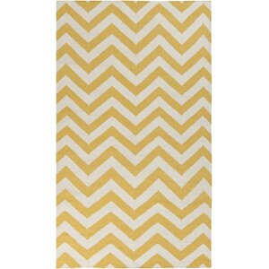 Marion Winter White/Old Gold Chevron Area Rug