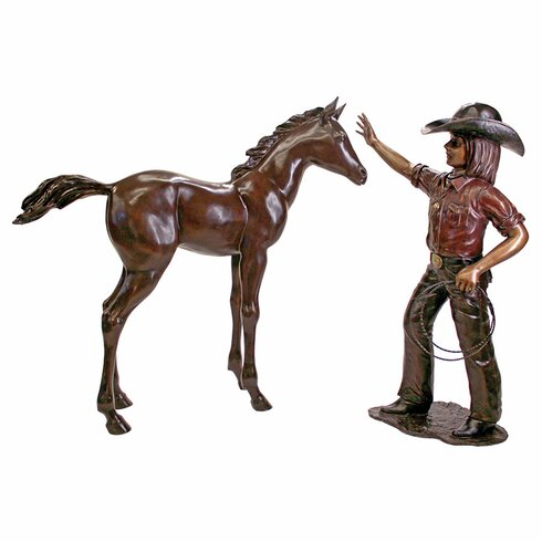 2 Piece Rodeo Dreams Cowgirl With Horse Garden Statue Set