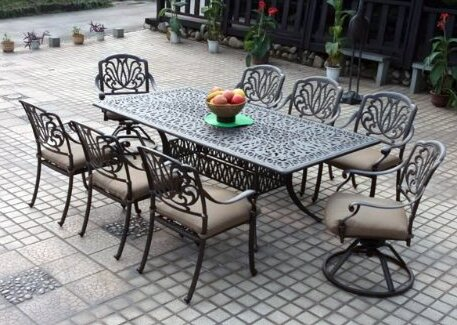 4fca5014d65ab Three Posts Lebanon 9 Piece Dining Set with Cushions