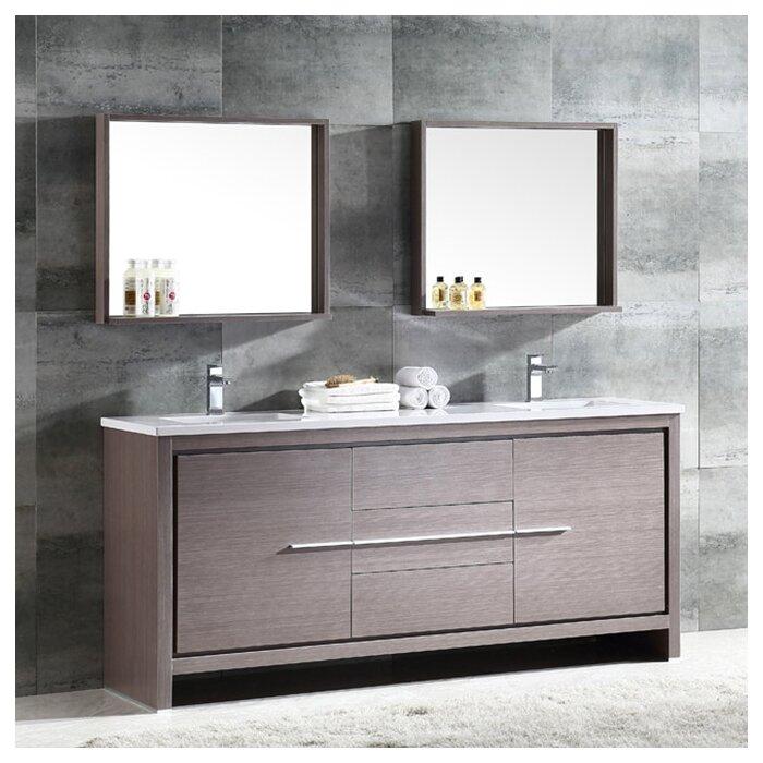 Pleasant Trieste Allier 72 Double Bathroom Vanity Set With Mirror Interior Design Ideas Inesswwsoteloinfo