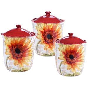 Paris Sunflower 3-Piece Storage Jar Set