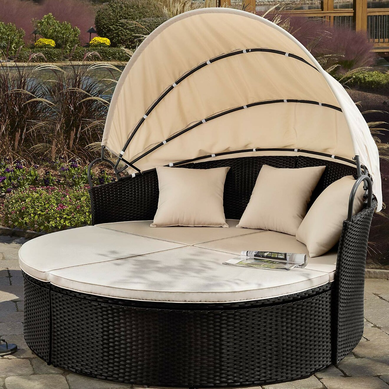 Surprising Leiston Round Patio Daybed With Cushions Download Free Architecture Designs Pushbritishbridgeorg