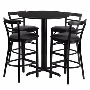 Alvarez Round Laminate 5 Piece Pedestal Pub Table Set